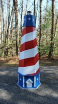Patriotic USA Lawn Lighthouse. DIY Woodworking Plans