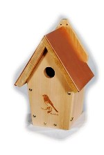 bluebird house with a copper roof