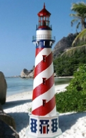 Patriotic style lawn lighthouse
