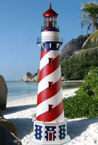 Patriotic Red White And Blue Lawn Lighthouse With Working