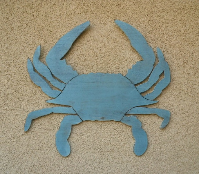 Blue Crab Wall Decor Large Rustic Wooden Crabs