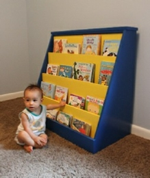 book shelf with baby