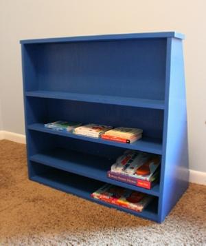 back side of kids bookshelf showing shelves