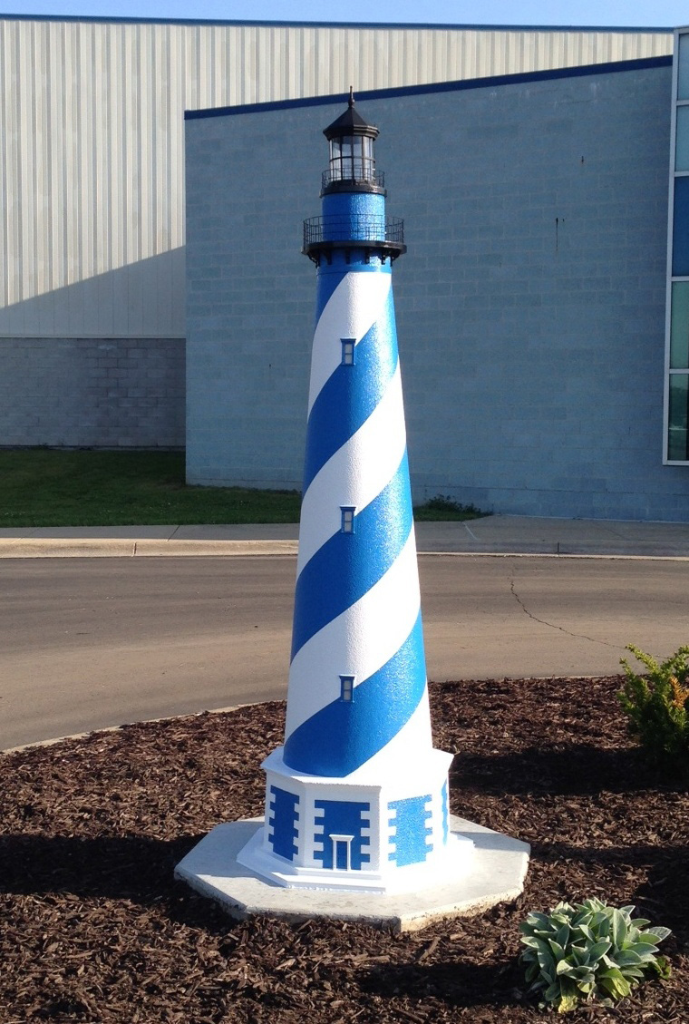 blue and white lawn lighthouse design - Amish Lighthouse Plans