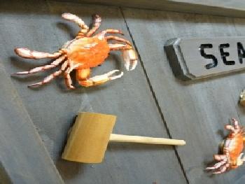 closeup of crab sign