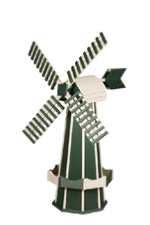 Green and white windmill