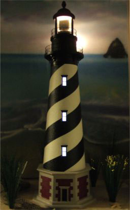 LED light up windows for yard lighthouses