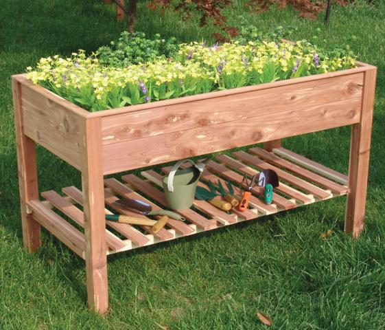 Build a cedar raised garden bed wood plans with photos for Vegetable garden planter box designs