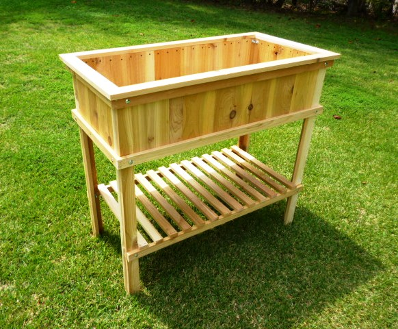 Build a cedar raised garden bed wood plans with photos for Raised bed garden designs plans