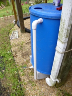 Finished rain barrel with gutter