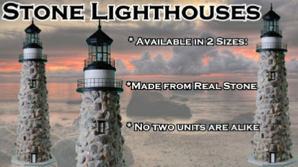 Stone Lawn Lighthouses with Working Lights