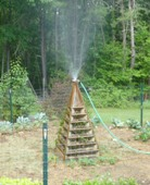 sprinkler on top of the pyramid planter